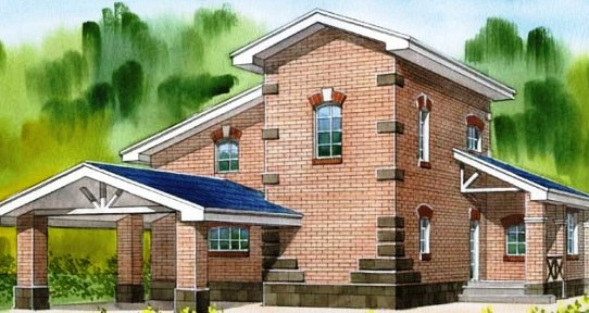 Кирпичный каменный дом. рисунок кирпичного дома, коттедж из кирпича